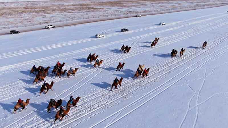 牧民竞技冬日草原